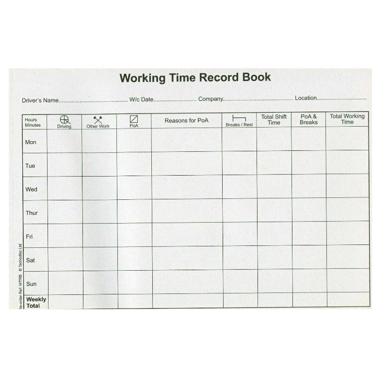 Working Time Record Book Tms Analysis Tacho Specialist